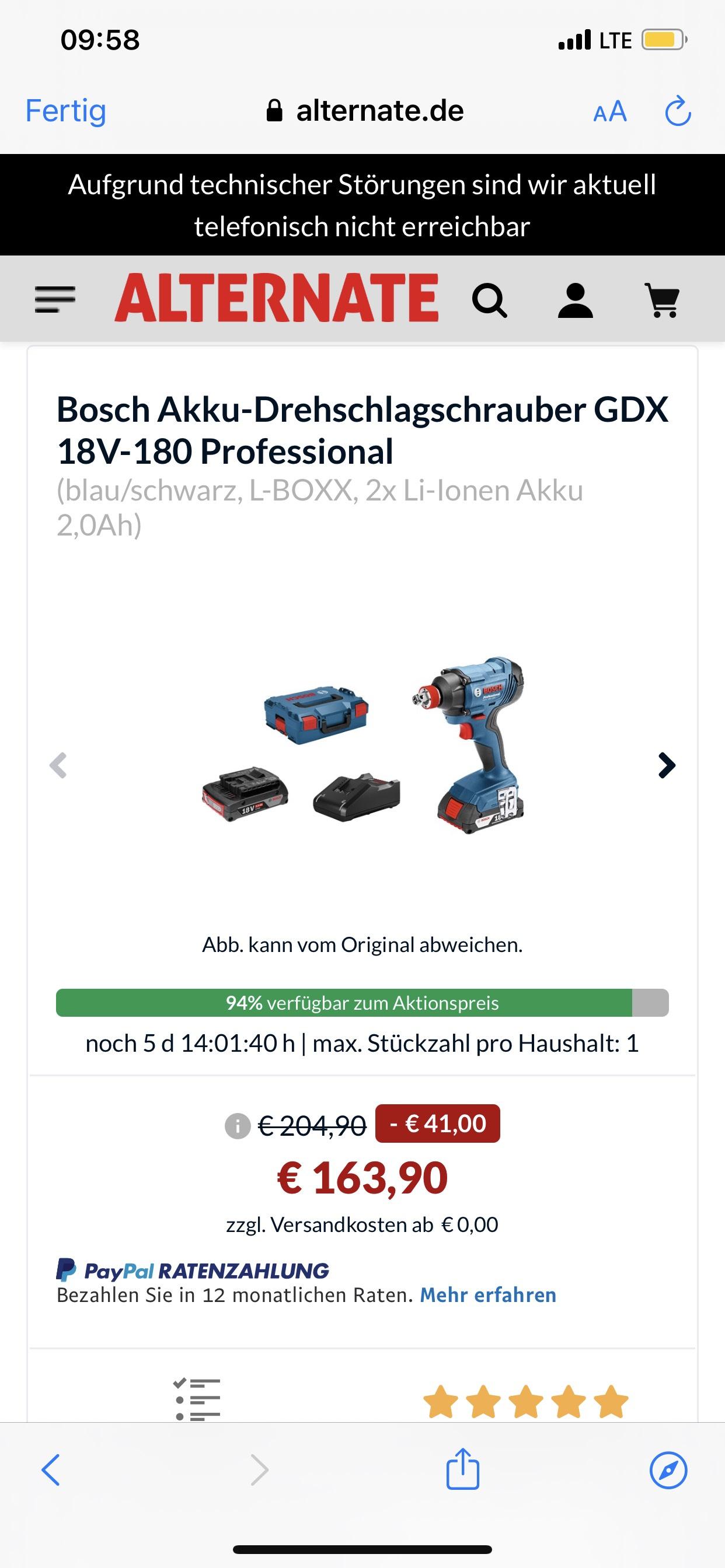 Bosch Akku-Drehschlagschrauber GDX 18V-180 Professional (blau/schwarz, L-BOXX, 2x Li-Ionen Akku 2,0Ah)