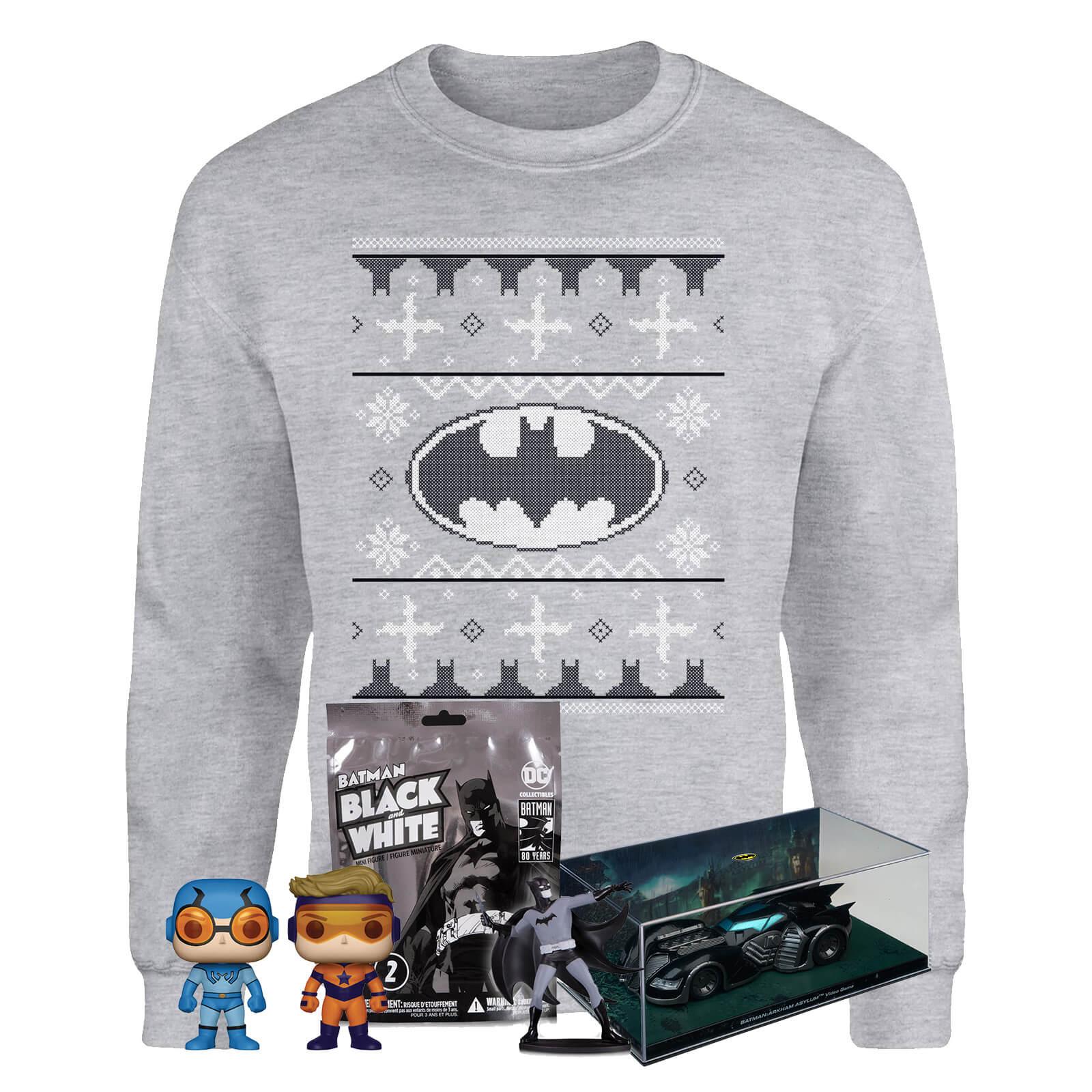 DC Offiziell Lizenziertes Weihnachtsbundle: Batman Weihnachts-Sweatshirt (Gr. S-XXL) + Batmobile +Batman Mini Figur + Funko Pop