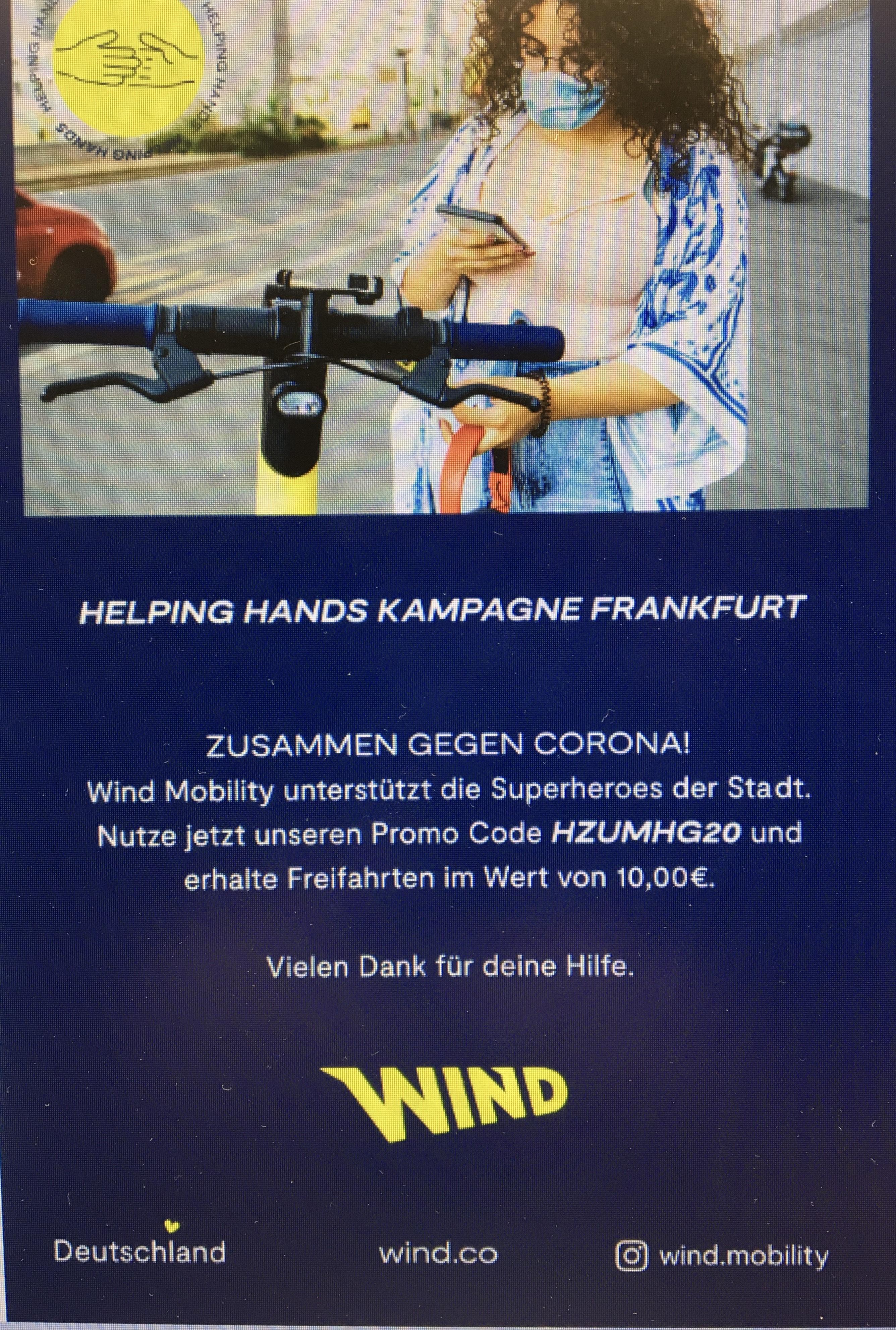Freifahrten im Wert von 10€! [Wind-Mobility E-Scooter]