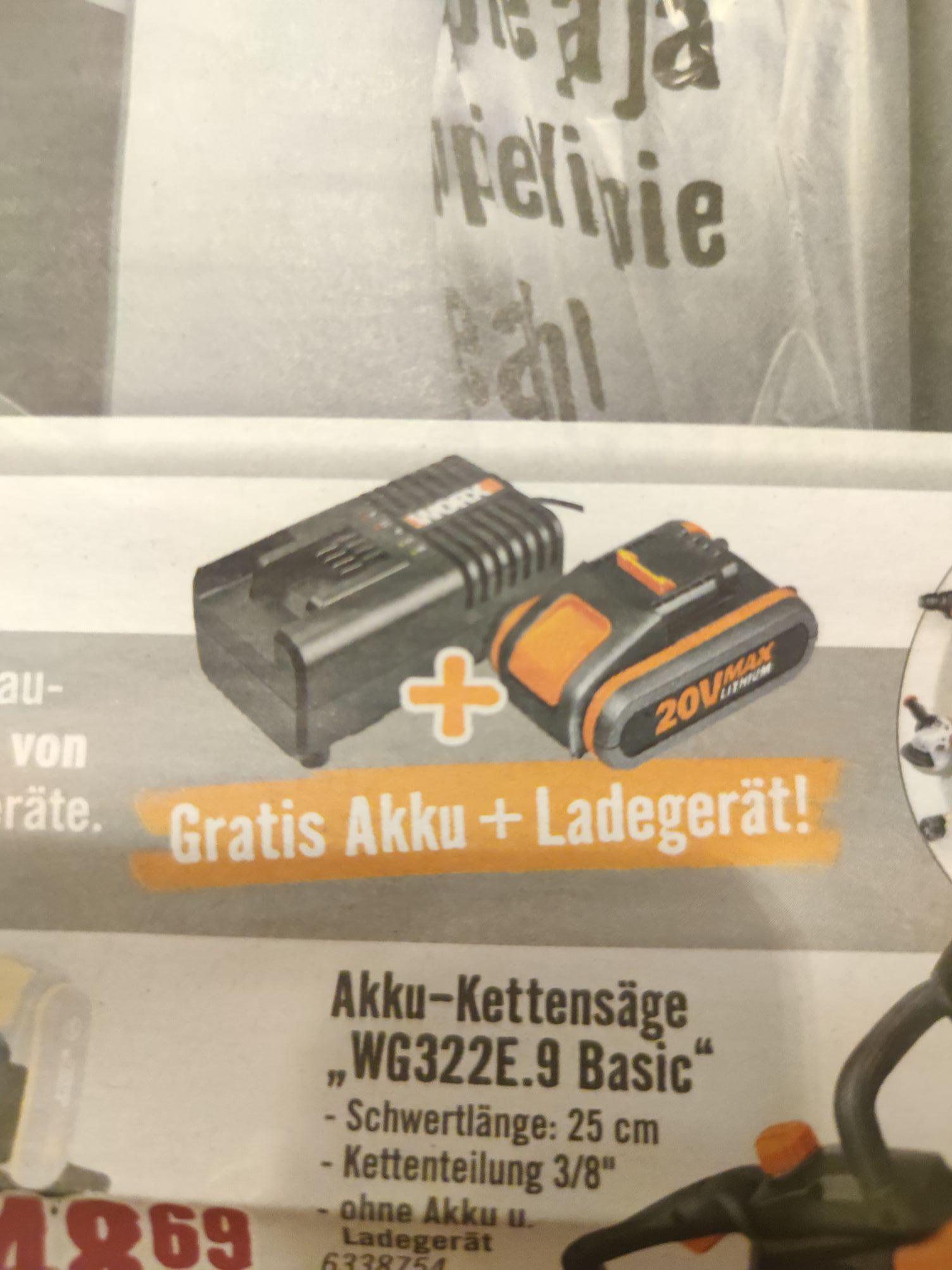 Worx Ladegerät WA3860 + Akku WA355 2Ah, beim Kauf von einem Gerät geschenkt
