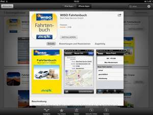 """[Kostenlos für iOS / IPhone] """"WISO Fahrtenbuch"""" von Buhl Data Service GmbH"""