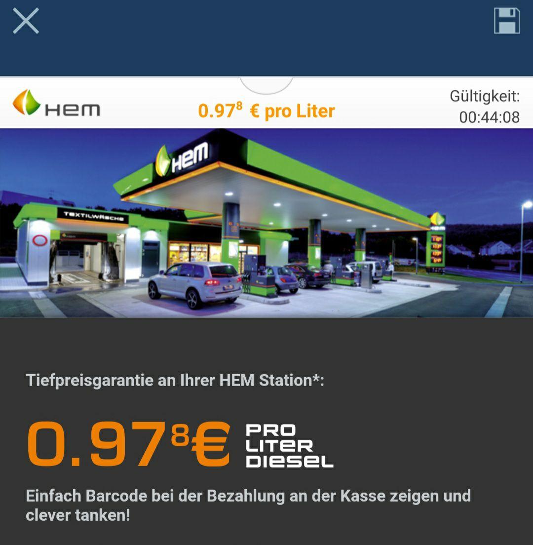 [HEM] Tankgutschein via CleverTanken 0,978€ für Diesel