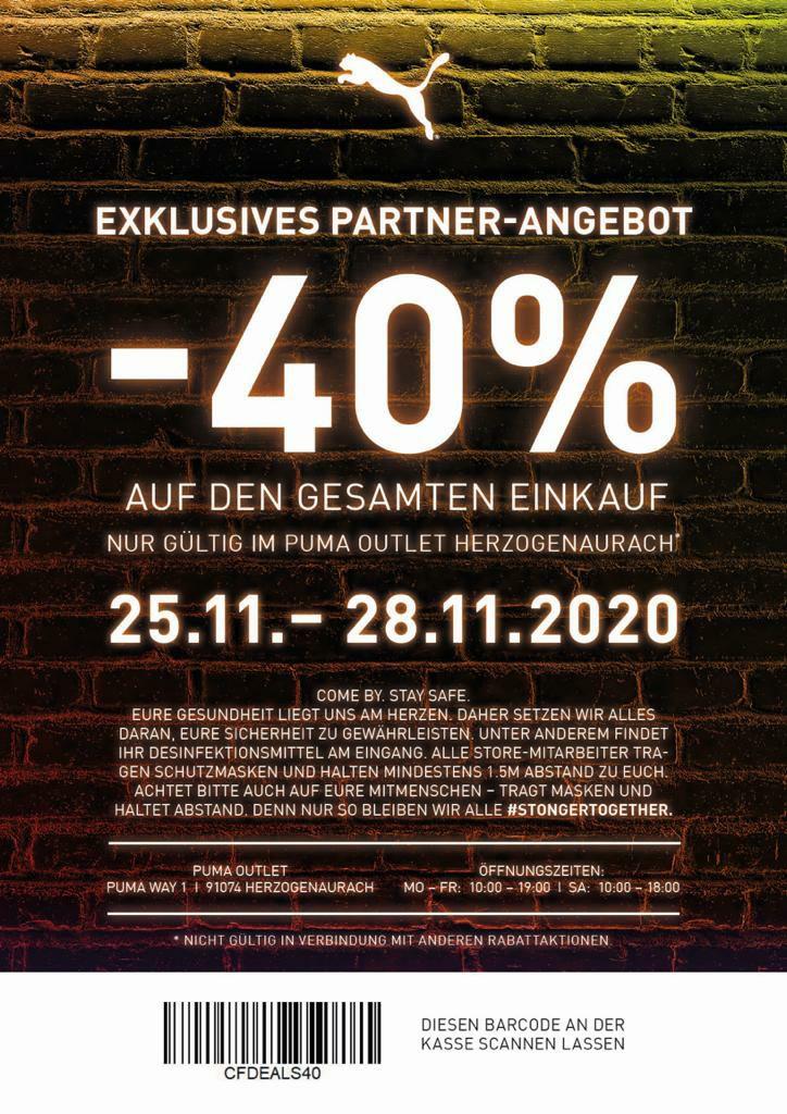Puma Outlet Herzogenaurach - 40% ab 25.11