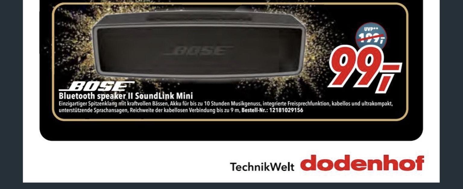 [LOKAL + Gratisversand im Online-Shop] expert Dodenhof / Bose SoundLink Mini II - Special Edition (12h Akku, USB-C, Klinke) Schwarz