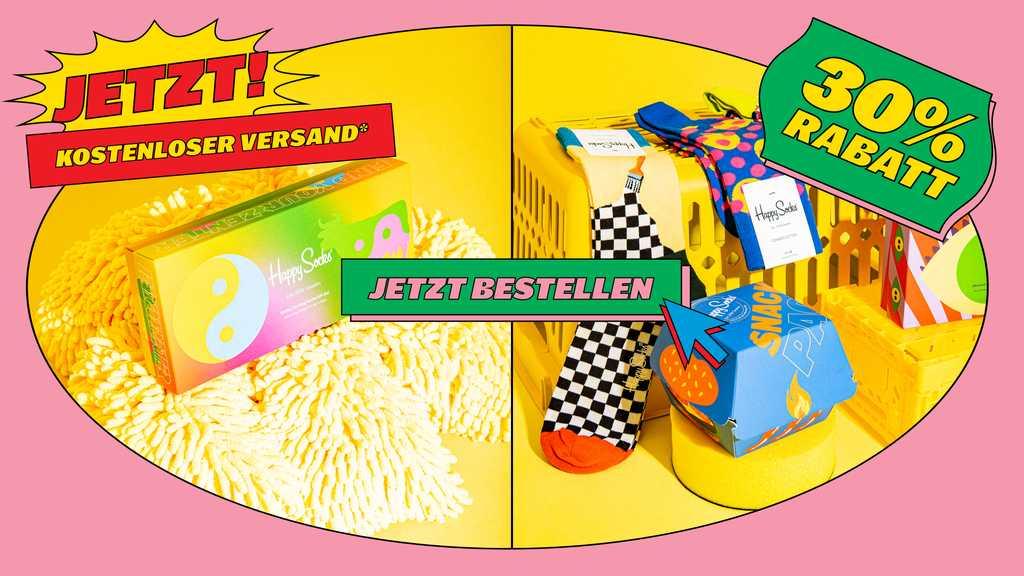 Happy Socks - -60% auf Unterwäsche, andere Produkte 40% und 30% (z.B. Gift Box 4-Pack)