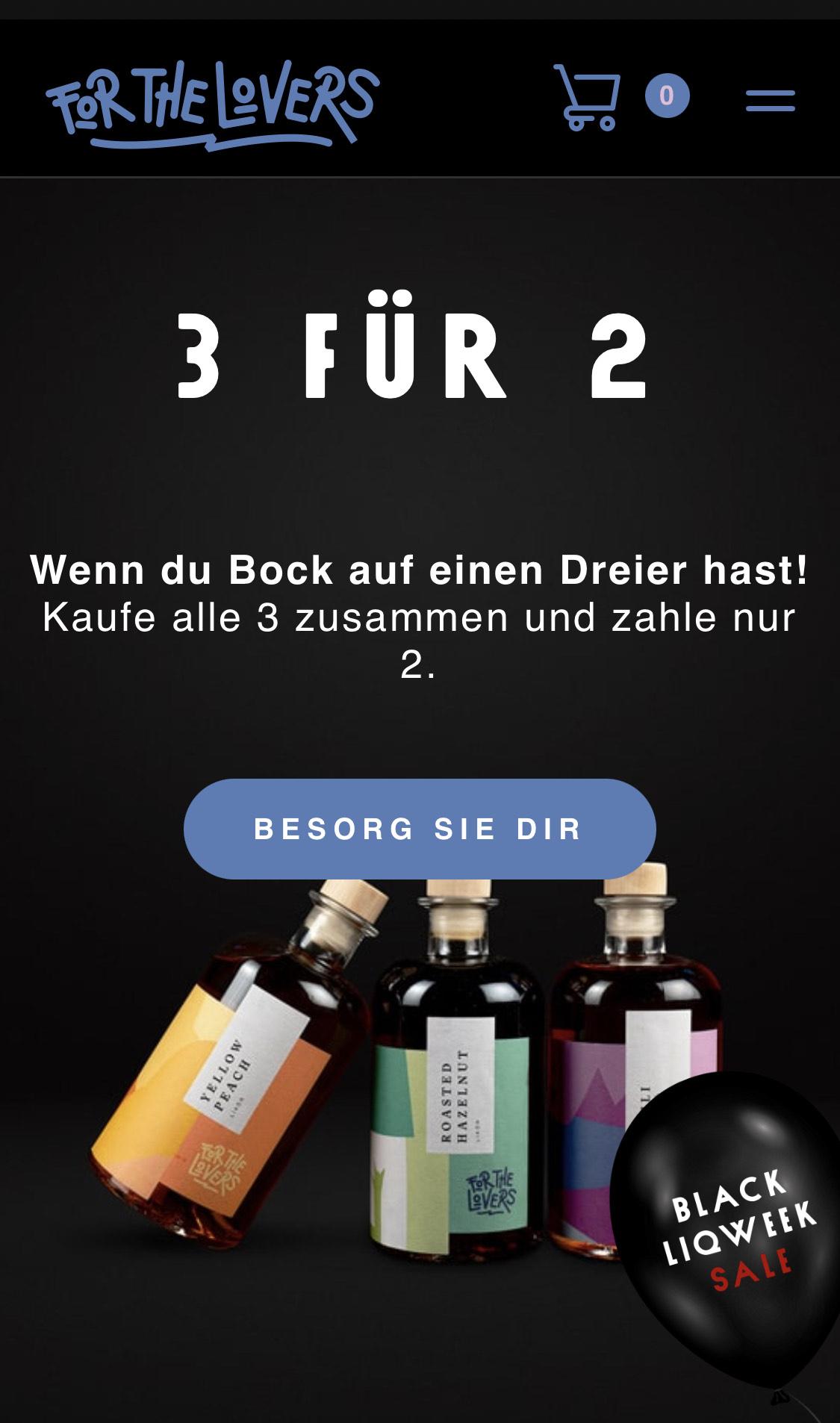 Leckerer Likör im Black Liqweek Sale 3 für 2 à 0,5l. For The Lovers