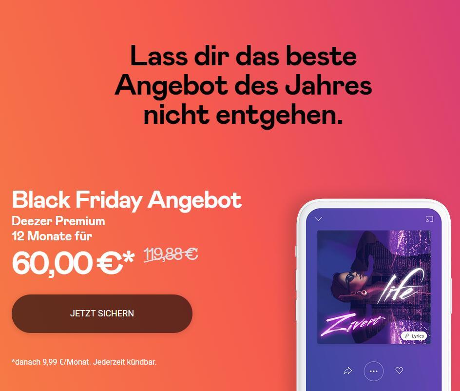 50% auf das Deezer Premium- (60€) und HiFi-Jahresabo (90€)