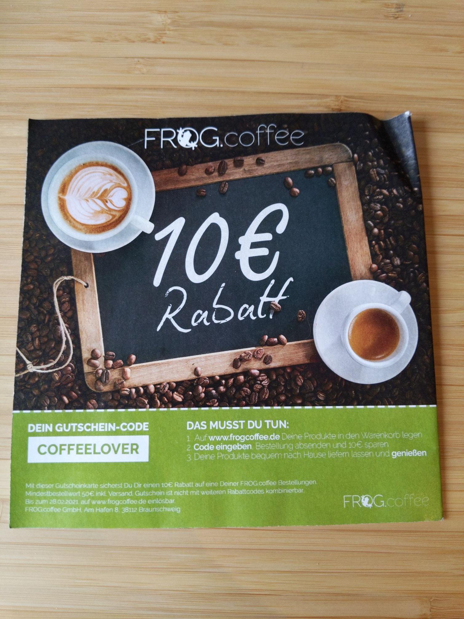FROG.coffe 10€ Gutschein z.B. Monin Sirup