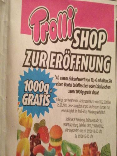 [lokal - Nürnberg]Trolli Nürnberg - Ab 10€ Einkaufswert gratis 1kg Colaflaschen od. Colaflaschen sauer dazu
