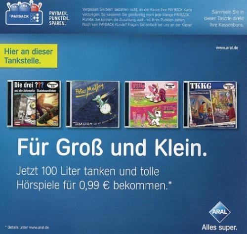 [Lokal?] Mit Aral zum Hörspiel - 100 Liter tanken 99 Cent Zuzahlung - Z.B. die Drei ???