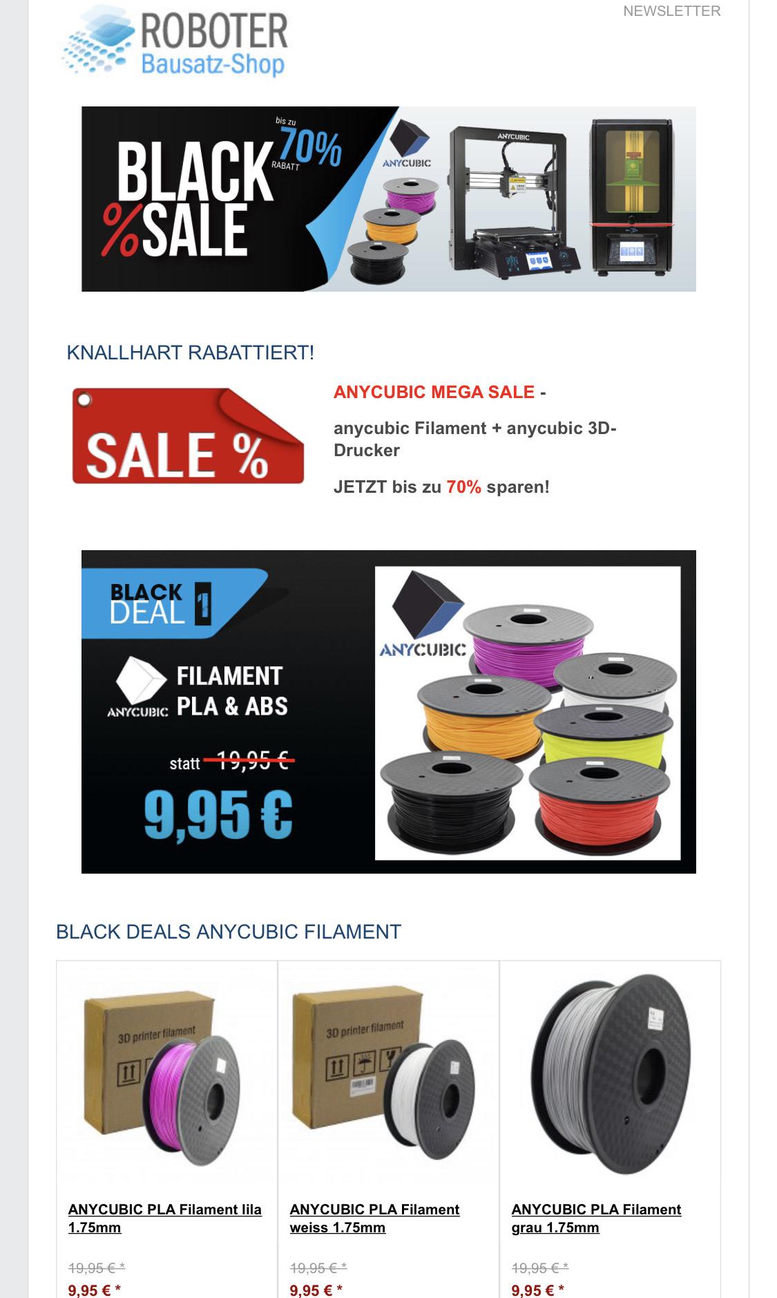 Roboter-Bausatz Shop - Anycubic Black Deal
