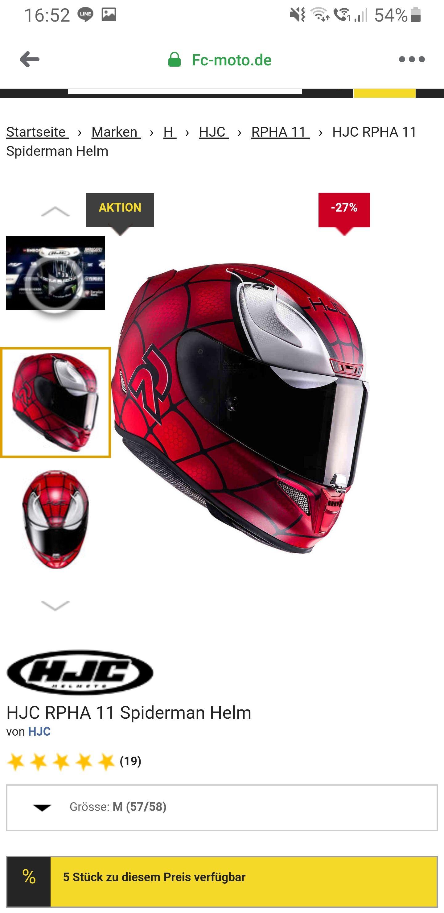 Motorradhelm HJC RPHA 11 Spiderman, Marvel lizensiert