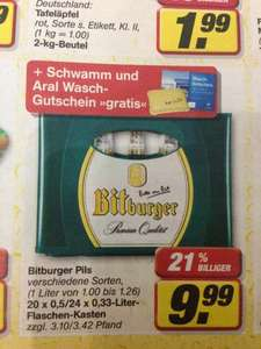 Bitburger Pils + Schwamm und Aral Waschgutschein