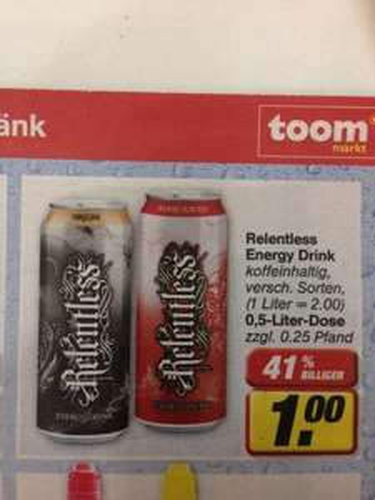 Relentless  Engergy Drink nur 1€