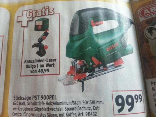 [offline + lokal] Max Bahr Hannover + andere Märkte (siehe Text): Bosch Stichsäge PST 900 PEL plus Gratiszugabe Bosch Kreuzlinienlaser Quigo
