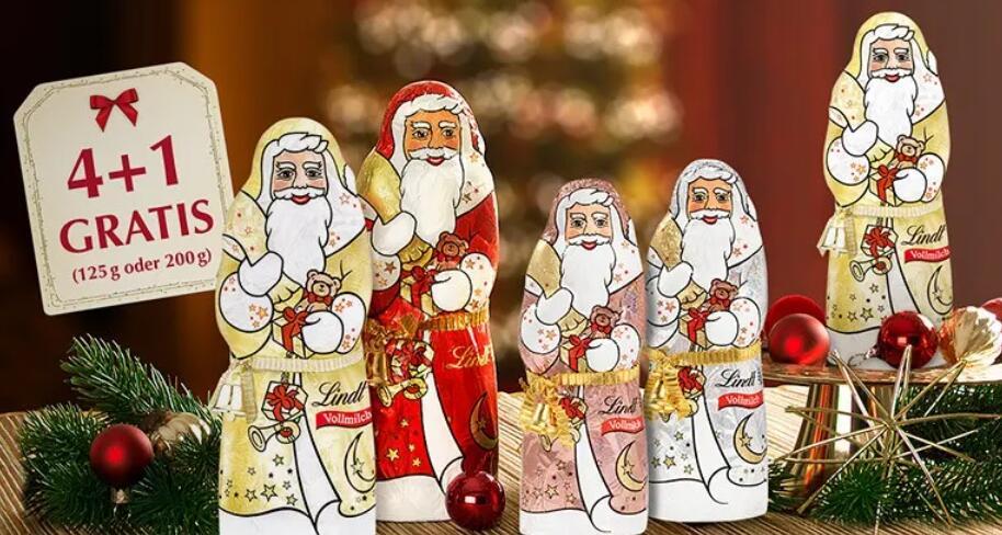 [Lindt Onlineshop] 4+1 Weihnachtsmänner Aktion 125 oder 200 Gramm, Versandkostenfrei ab 15 €