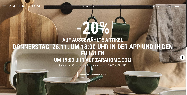 -20% auf ausgewählte Artikel bei Zara Home