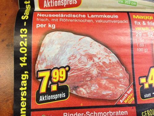 Neuseeländische Lammkeule 7,99€/kg bei Netto