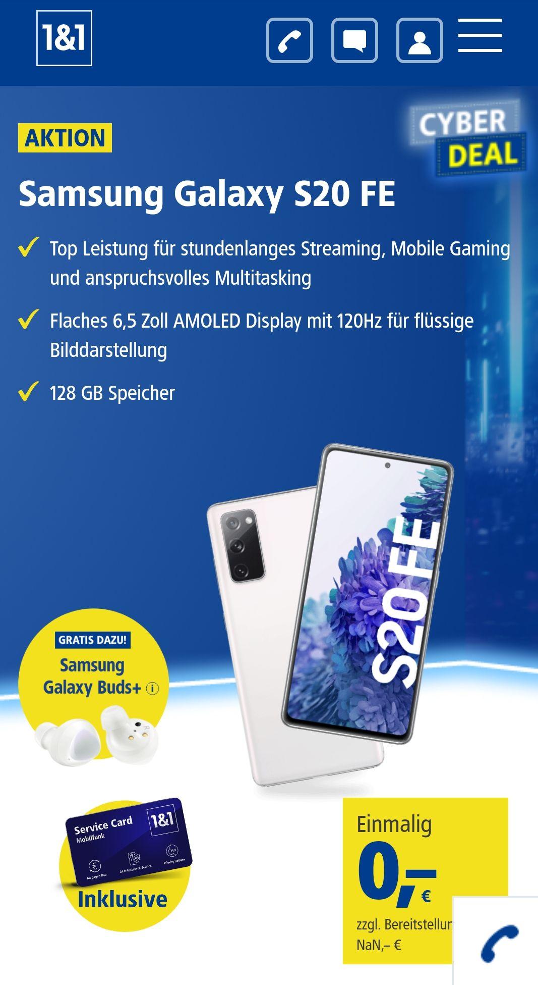 1&1 1 GB Vertrag mit Samsung Galaxy S20 FE inkl. Buds+