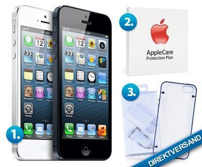 iPhone 5 16 GB schwarz oder weiß + AppleCare Protection Plan + Zubehör