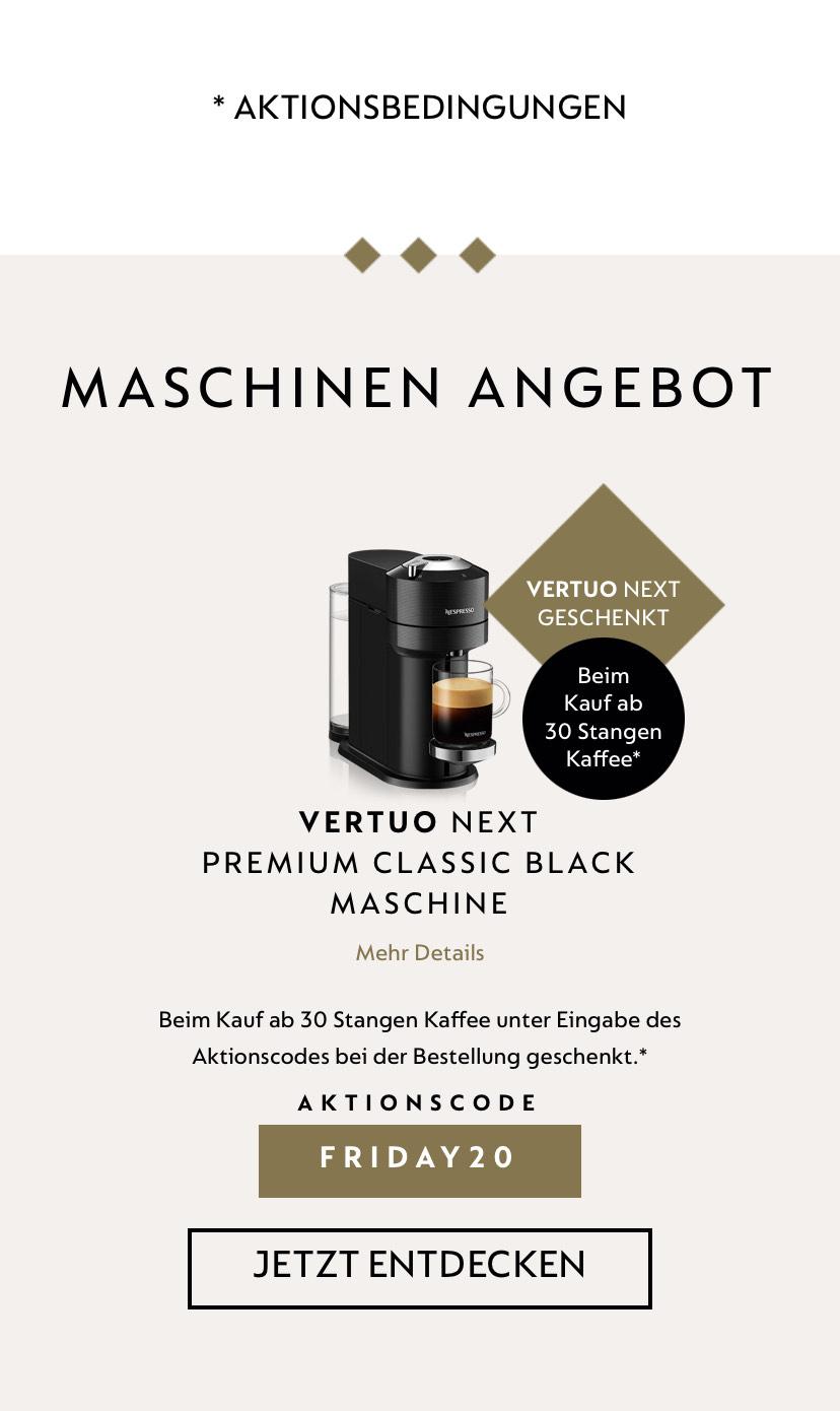 Nespresso: Vertuo geschenkt beim Kauf von 30 Stangen