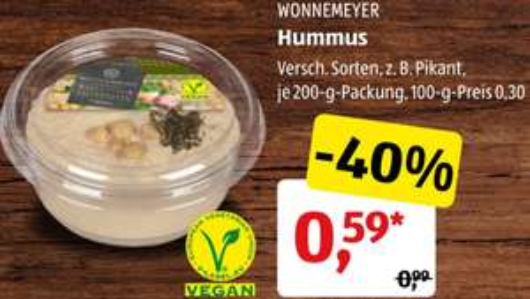 200g Becher Hummus - Aufstrich versch. Sorten für 0,57 Euro [Aldi Süd  Ab 30.11.]