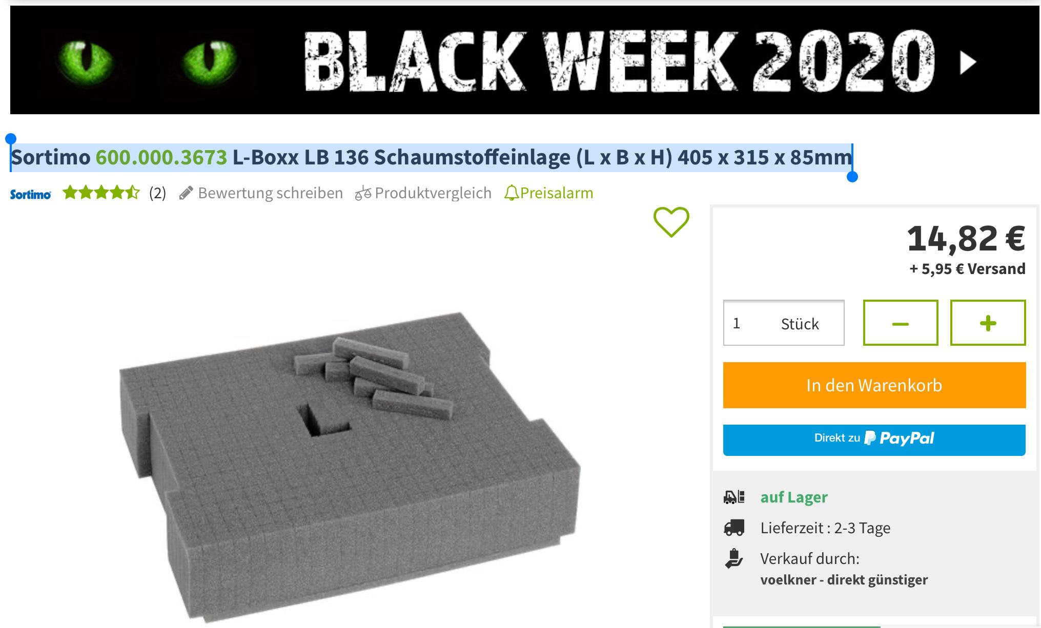2x Sortimo L-Boxx 136 Einlage Universal anpassbar (600.000.3673) für Bosch L-Boxx