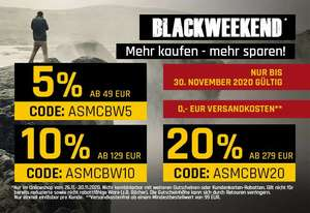 BLACKWEEKEND BEI ASMC - 5% / 10% ODER 20%RABATT AUF DAS GESAMTE SORTIMENT - GRATIS LIEFERUNG AB 99,00€