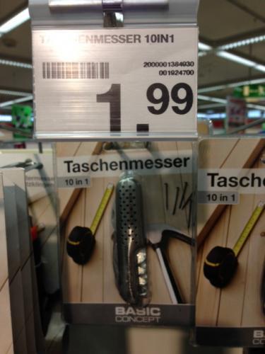 Endlich mal ein Taschenmesser Deal! 10 Funktionen 1,99 Euro Dauerpreis bei Woolworth offline!!!!