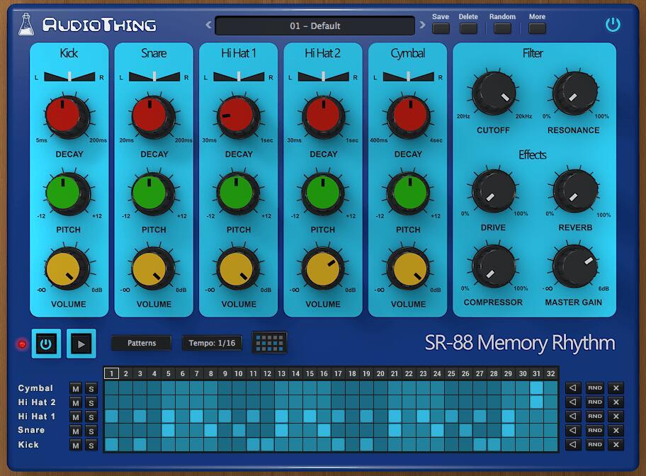 AudioThing SR-88 Drum Machine kostenlos [Musikproduktion / VST-Plugin / AU / AAX]