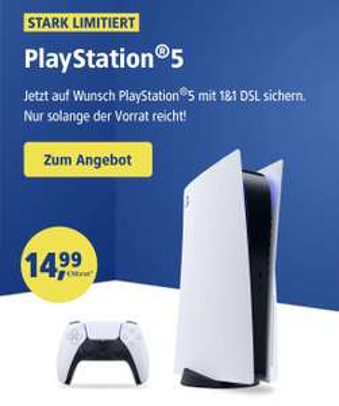 Sony PlayStation 5 mit DSL Vertrag bei 1&1