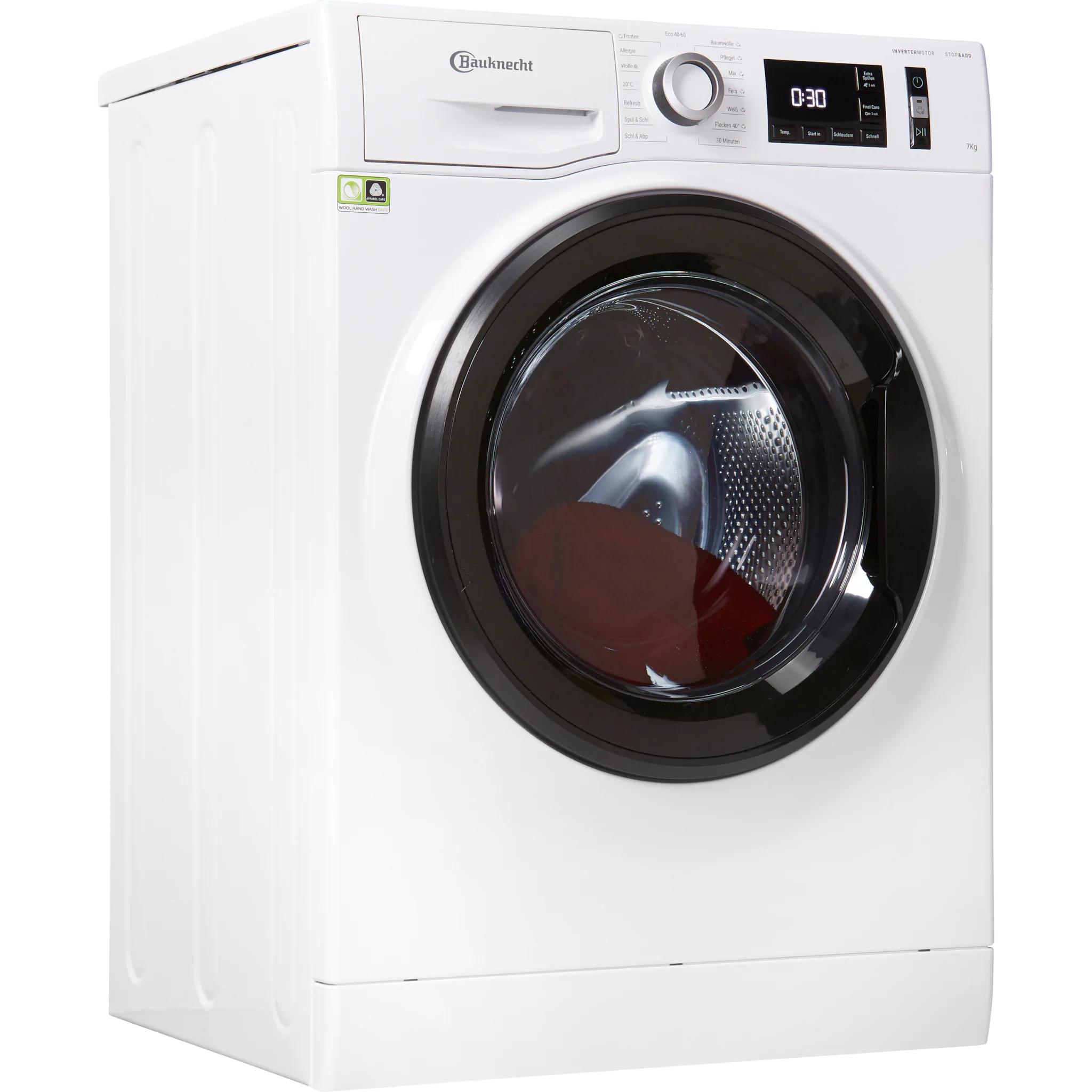 BAUKNECHT Waschmaschine W Active 712C 7kg mit Invertermotor, Dampfreinigung, Mengenautomatik und 4 Jahre Garantie