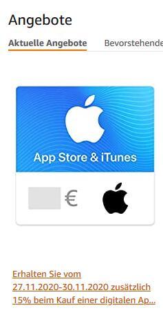 Amazon BF: 15% auf Apple App Store & iTunes Guthaben extra