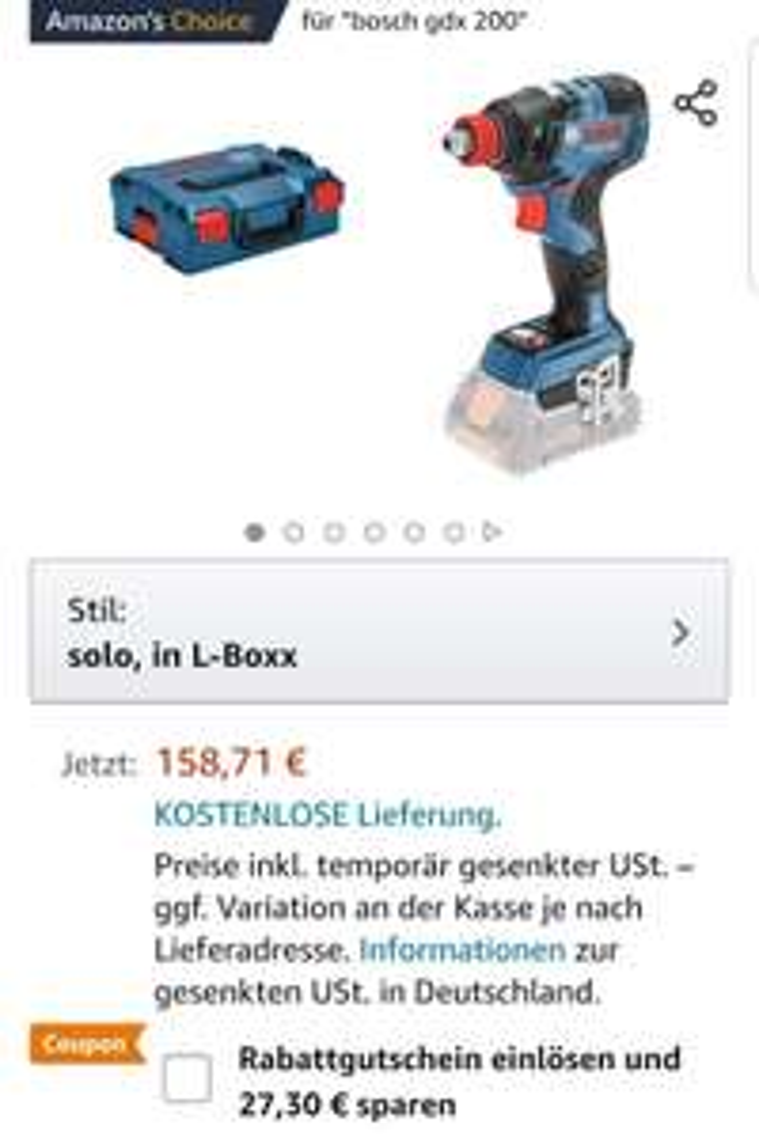 [Amazon] Bosch GDX 18V-200 C