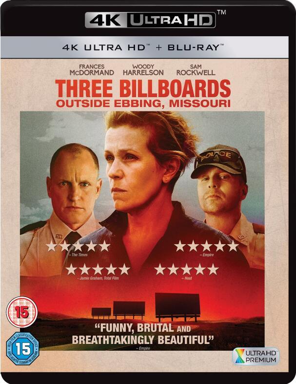 3x 4K Blu-rays für 35,85€ inkl. Versand - z.B. Three Billboards Outside Ebbing, Missouri