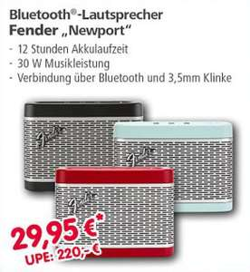 (Lokal) FENDER Newport BT-Lautsprecher // Hama Schnäppchenmarkt - 86653 Monheim