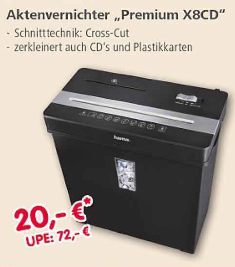 """(Lokal) Hama Aktenvernichter """"Premium X8CD"""" // Hama Schnäppchenmarkt - 86653 Monheim"""