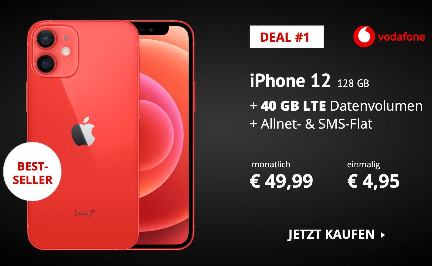 Apple iPhone 12 mit 128 GB inkl Skypods Lite, 40 GB 5G im Vodafone Netz, sofort Lieferbar, 1204,71€