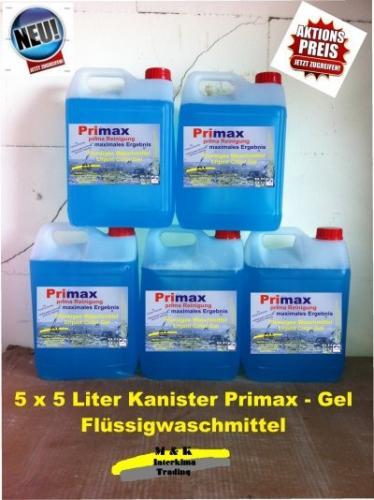 5*5L= 25L Flüssigwaschmittel für 26,90€ 4,3Cent pro WL
