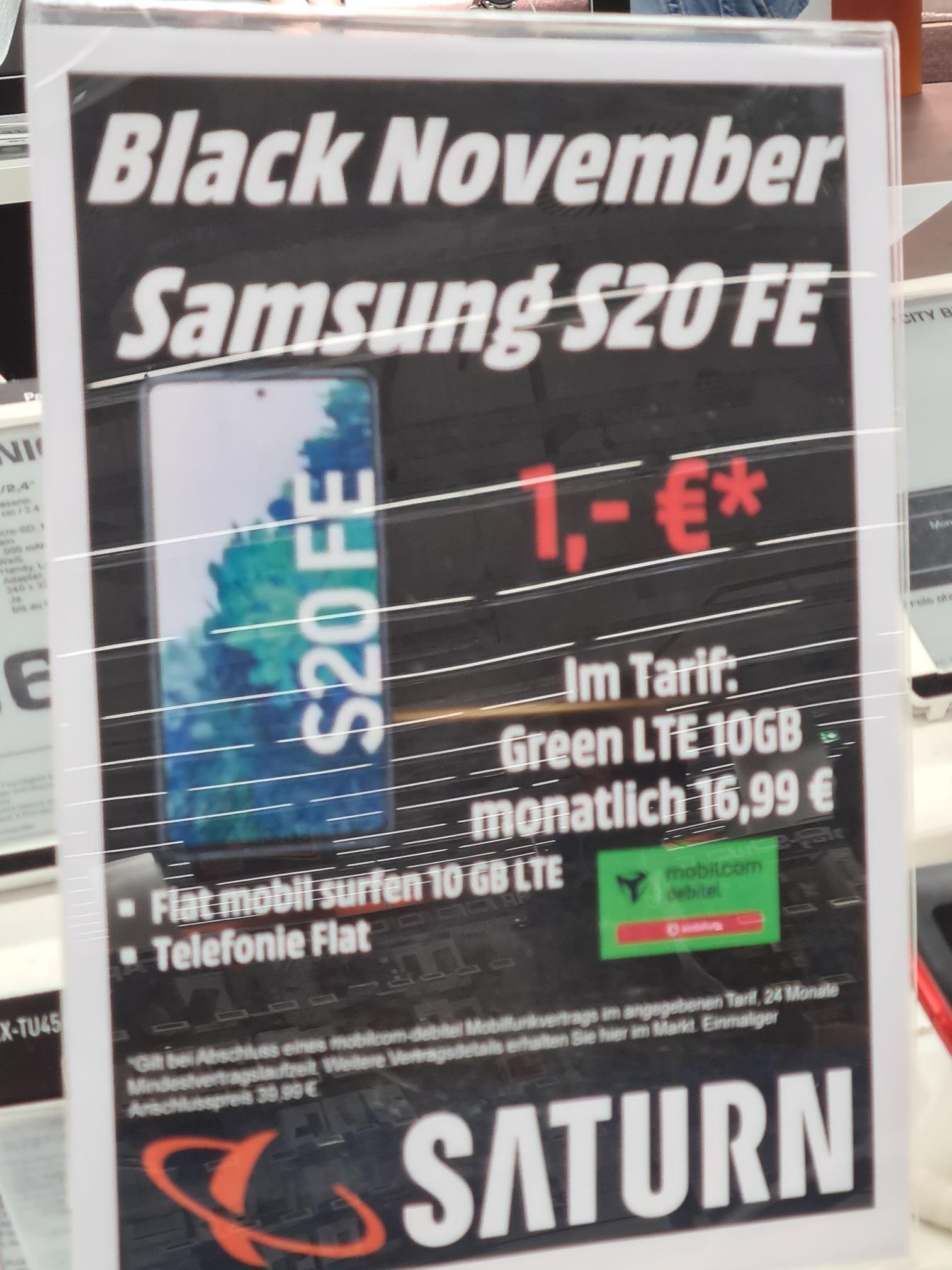 (Saturn Leverkusen) S20 FE 10GB LTE Mobilcom Allnet Vodafone insgesamt für 448,75 Euro