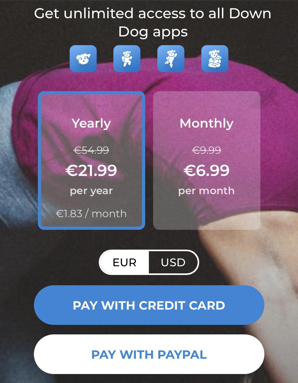 Alle Downdog Apps für 21,99 € / Jahr
