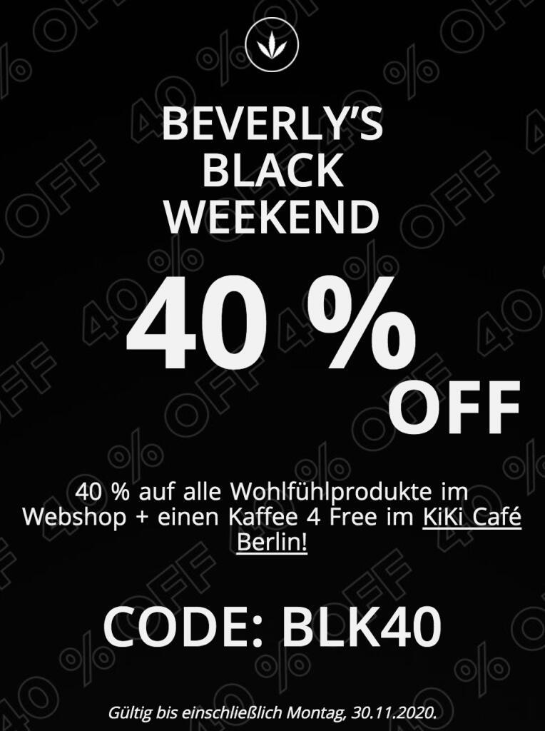 Black Weekend 40% auf alle CBD Produkte bei Beverly´s CBD