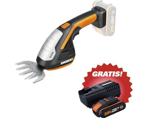 WORX WG801E.9 - Akku-Gras- und Strauchschere + Gratis Akku und Ladegerät