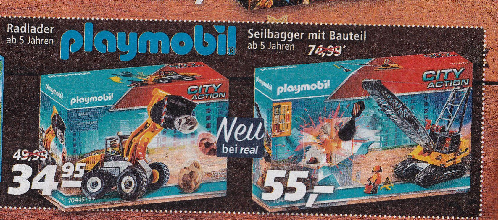 Playmobil Seilbagger (70442), Radlader (70445), real Family&Friends