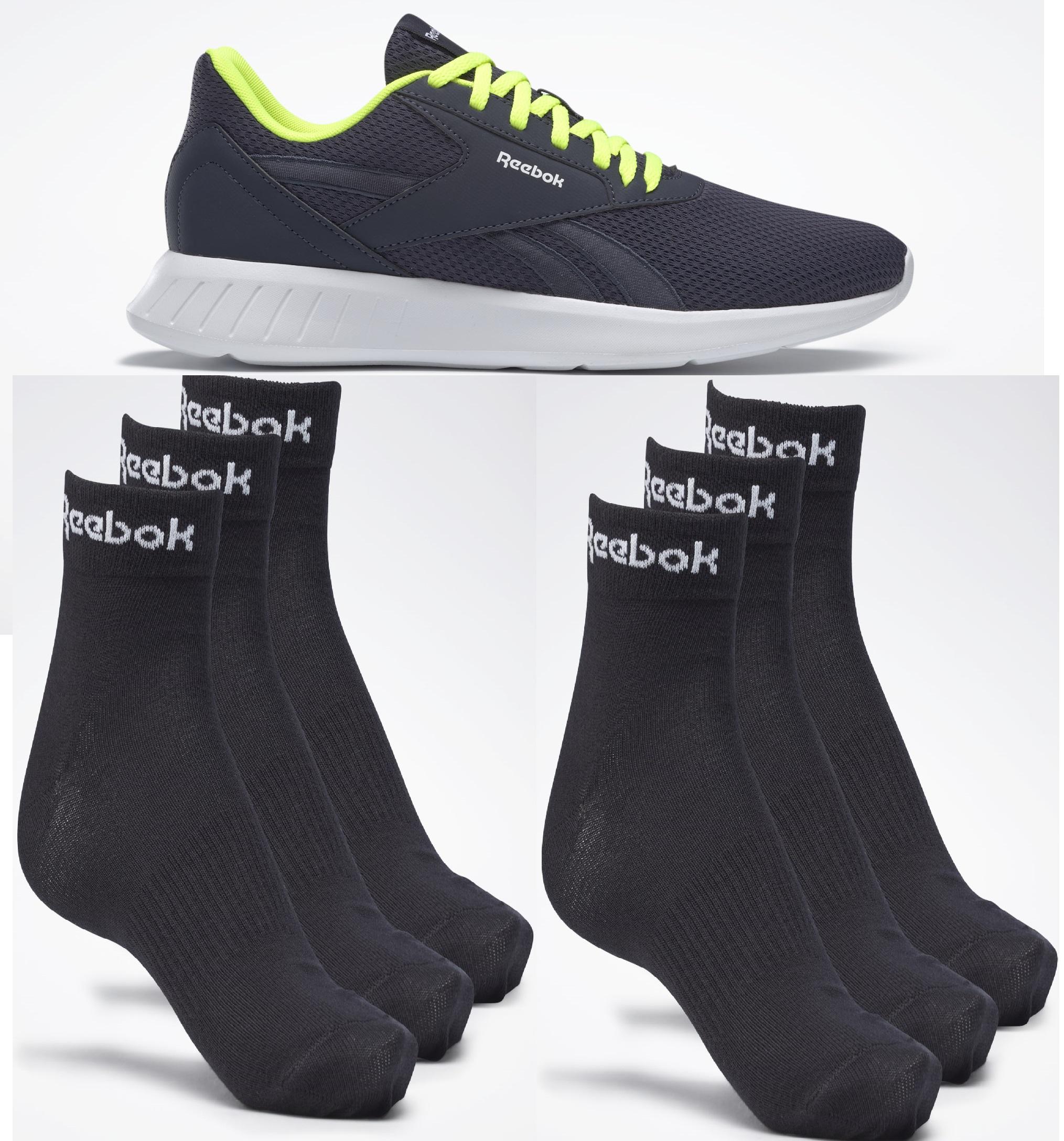 Reebok Lite 2 Herren Laufschuhe zusammen mit 6 Reebok Ankle Socken