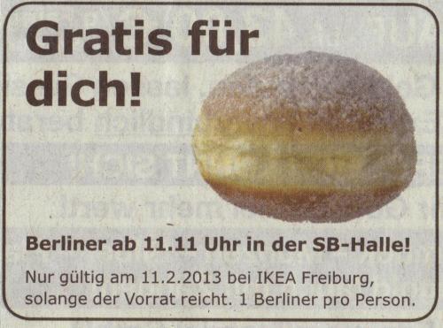 [Lokal] Gratis-Berliner bei Ikea Freiburg