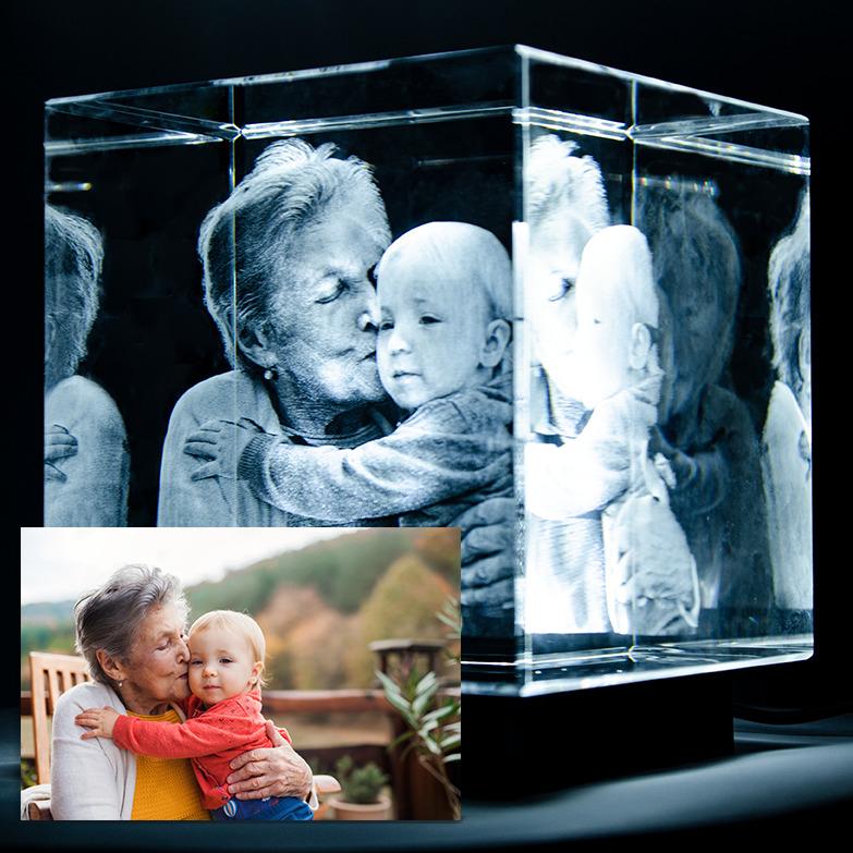 Individuelles Foto in 2D/3D in Glas gelasert als Weihnachtsgeschenk ab 5,50€ + 6€ Versand