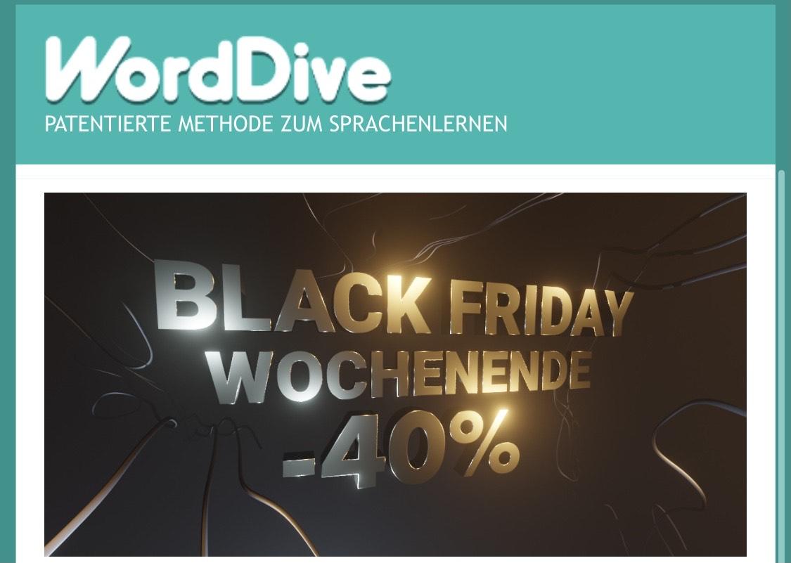 WordDive - 40% auf alle 12-monatigen Kurspakete