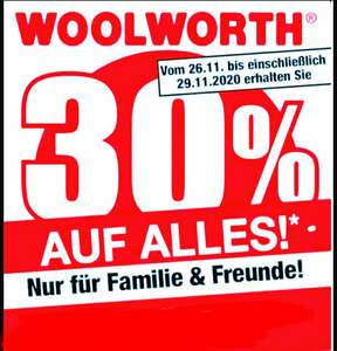 [Woolworth] 30% auf gesamtes Sortiment