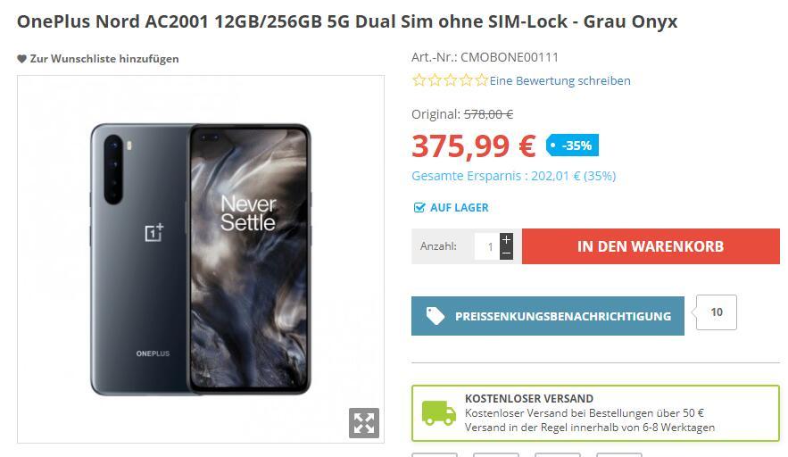 OnePlus Nord AC2001 12GB/256GB 5G Dual Sim ohne SIM-Lock - Grau Onyx